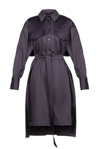 Ruffle Back Cotton Shirtdress - Charcoal