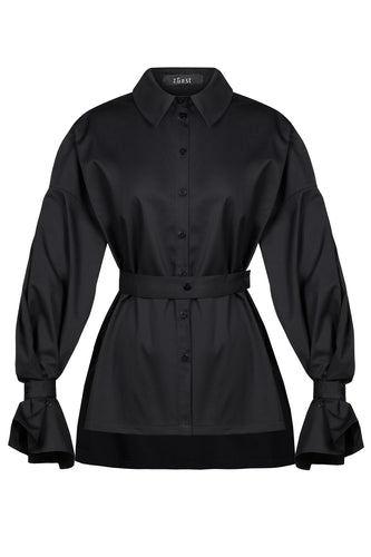 Belted Accent Sleeve Shirt - Black