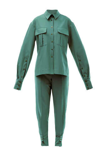 Karine Classic Shirt Suit - Green