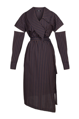 Slit Sleeve Cotton Dress - Black Stripe