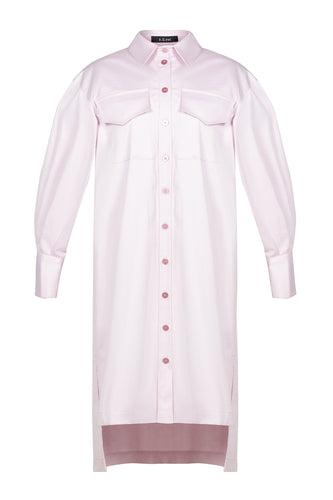 Ruffle Back Cotton Shirtdress - Pink