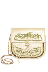 Embroidered Mini Crossbody Bag - Beige