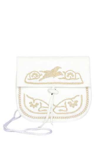 Embroidered Mini Crossbody Bag - White