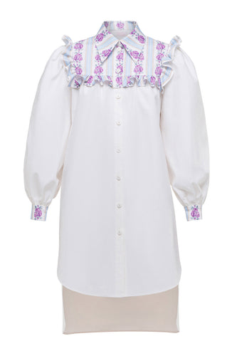 Ruffle Detail Shirtdress - White