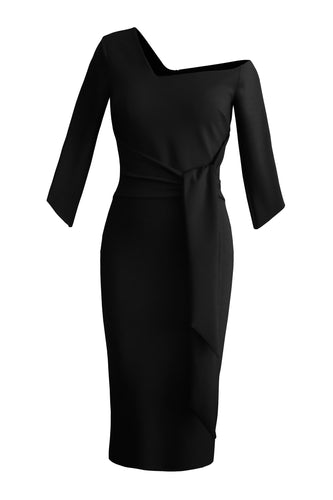 Tie Waist Sculpted Dress - Black