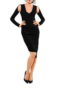 Open Shoulder Sculpted Dress - Black