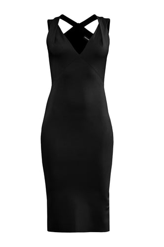 V Neck Sculpted Dress - Black
