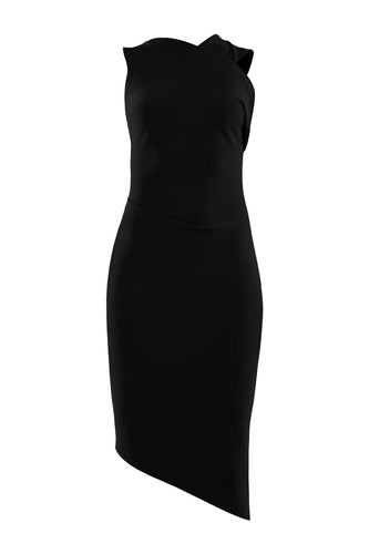 Asymmetric Sculpted Dress - Black