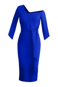Tie Waist Sculpted Dress - Blue