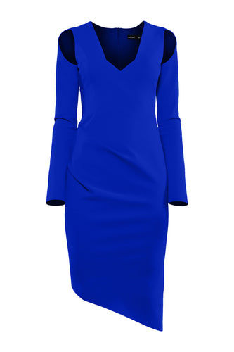Open Shoulder Sculpted Dress - Blue