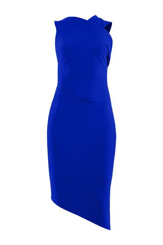 Asymmetric Sculpted Dress - Blue