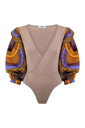 Naa Exaggerated Sleeve Bodysuit - Beige