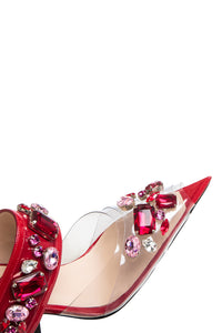 Jeweled PVC Mary Jane Sandals - Red/Pink