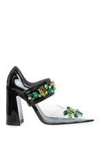Load image into Gallery viewer, Jeweled PVC Mary Jane Sandals - Black/Green
