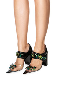 Jeweled PVC Mary Jane Sandals - Black/Green