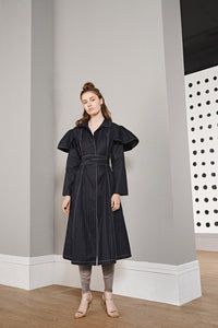 Pinstripe Wrap Coat