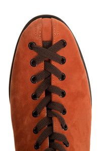 Nubuck Lace-Up Boots - Rust