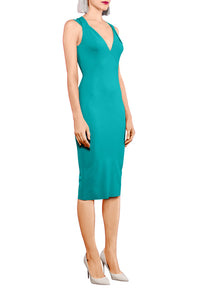 V Neck Sculpted Dress - Aqua Blue