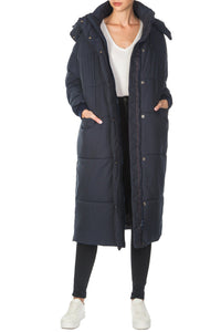 Long Parka Coat - Navy
