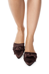 Silk Knot Mules - Brown