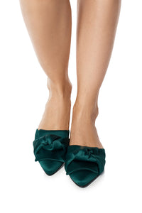Silk Knot Mules - Green