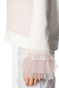 Sequin and Tulle Trim Tweed Top - Pink