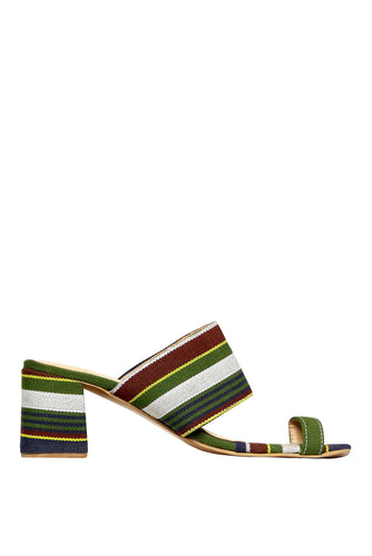 Kakawa Toe Mules - Green Stripe