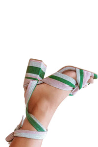 Nonye Wrap Heels - Green Stripe