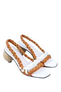 Lolo Woven Leather Slingback Sandals
