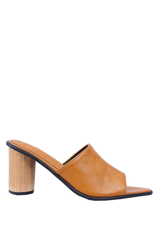 Oby Leather Mules - Brown