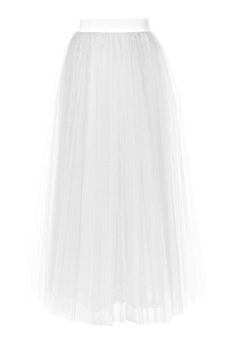 Tulle Layered Long Skirt - White