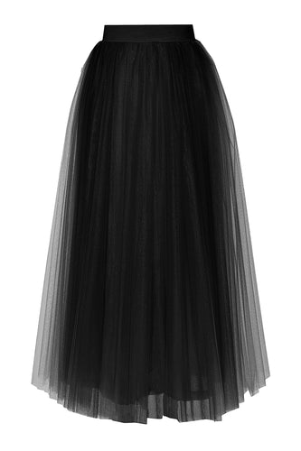 Tulle Layered Long Skirt - Black