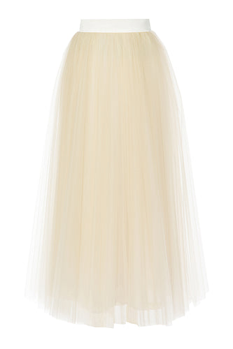 Tulle Layered Long Skirt - Ivory