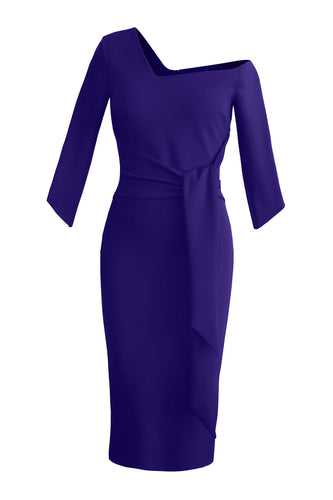 Tie Waist Sculpted Dress - Purple