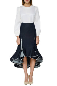 Denim Godet Skirt