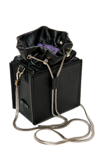 Drawstring Top Square Bag - Black