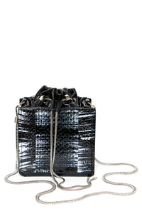 Drawstring Top Square Bag - Black Snakeskin
