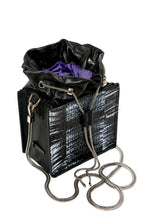 Load image into Gallery viewer, Drawstring Top Square Bag - Black Snakeskin