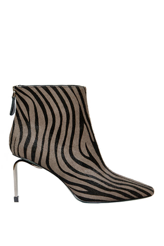 MyMadness High Heel Booties - Grey Zebra