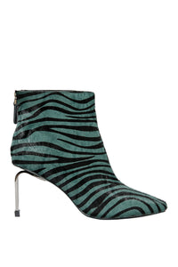 MyMadness High Heel Booties - Teal Zebra