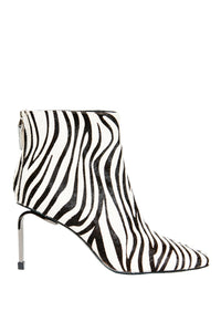 MyMadness High Heel Booties - White Zebra