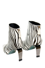 Load image into Gallery viewer, MyMadness High Heel Booties - White Zebra