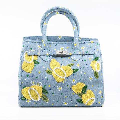 Pre-Order Flower & Lemon Beaded Handbag