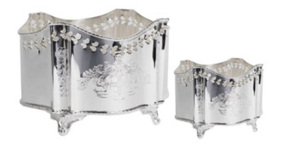 Etched Pierced Silver Planter