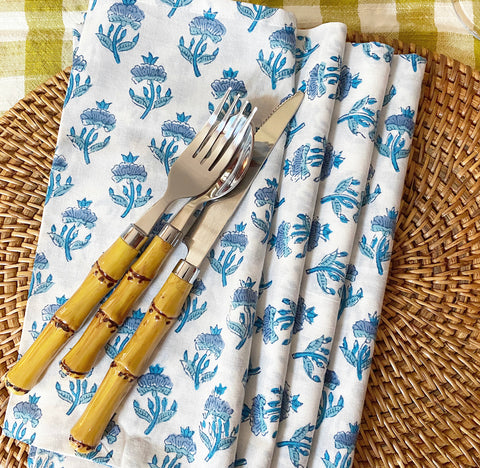 Blue & White Block Print Napkins