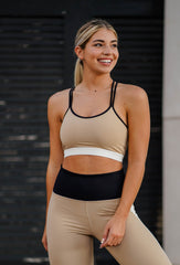 SIZE LARGE No Comparison Color Block Sports Bra