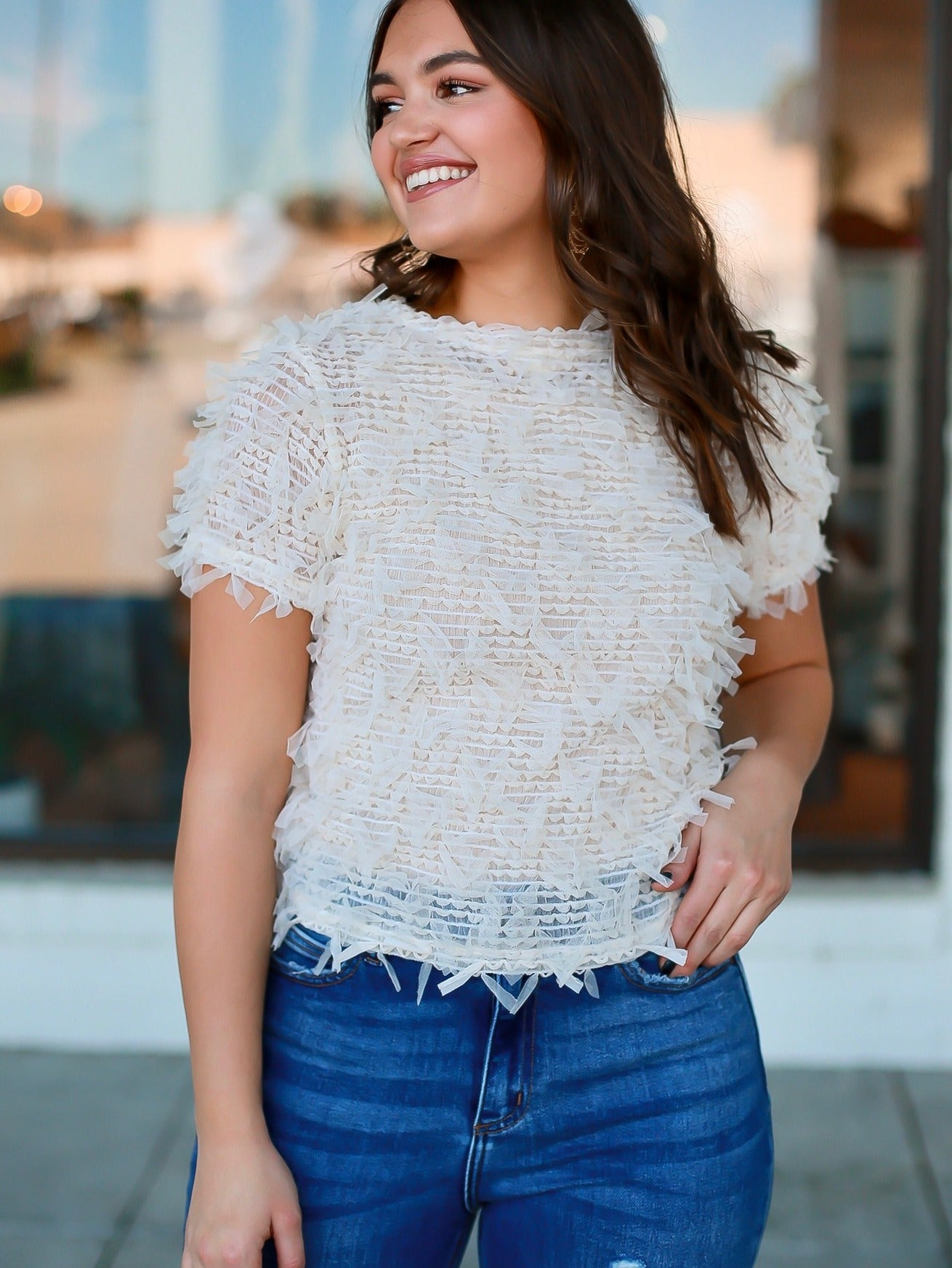 Morgan Sheer Fringe Top