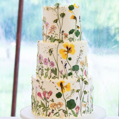 Edible flowers on cake