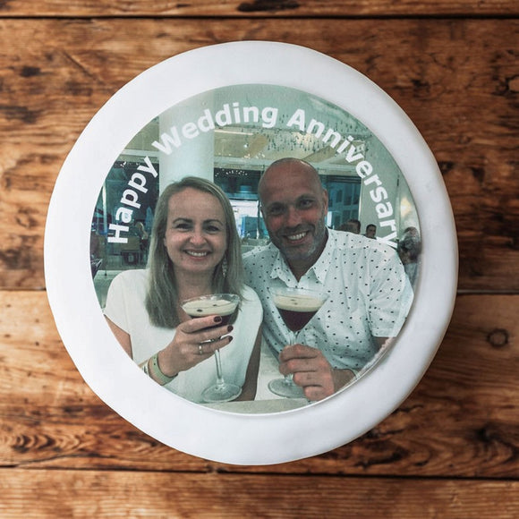 Wedding Anniversary Photo Cake Topper | Icing Cake Decorations