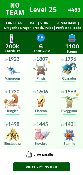 #483 Level 25 | CAN CHANGE EMAIL | STONE EDGE MACHAMP | Dragonite Dragon Breath/Pulse | 1100+ Items | Perfect to Trade